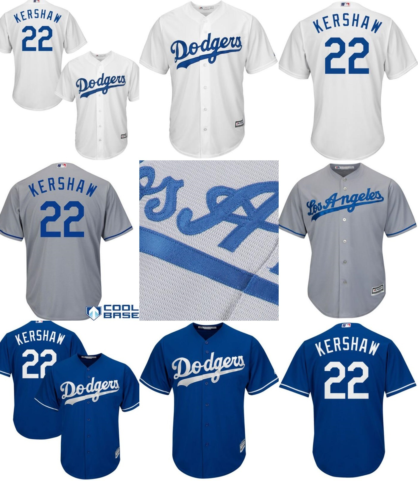 best sneakers 60ac2 32ae7 [Hot Item] Los Angeles Dodgers 22 Clayton Kershaw Cool Base Baseball Jerseys