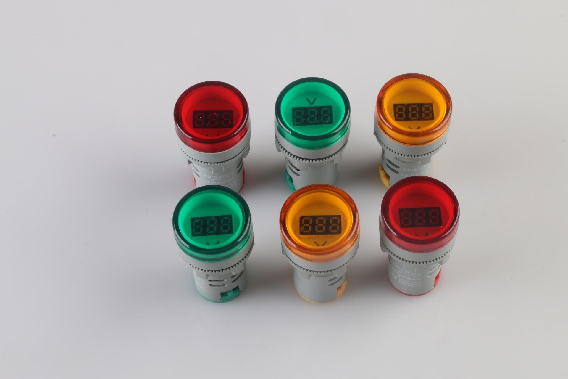 China Professional Factory Ad16 22dsv Mini Voltmeter Indicator Light Cr7 Green Ad22 22mm 25mm Ac 50v To 450v Dc Upto 60v Led With