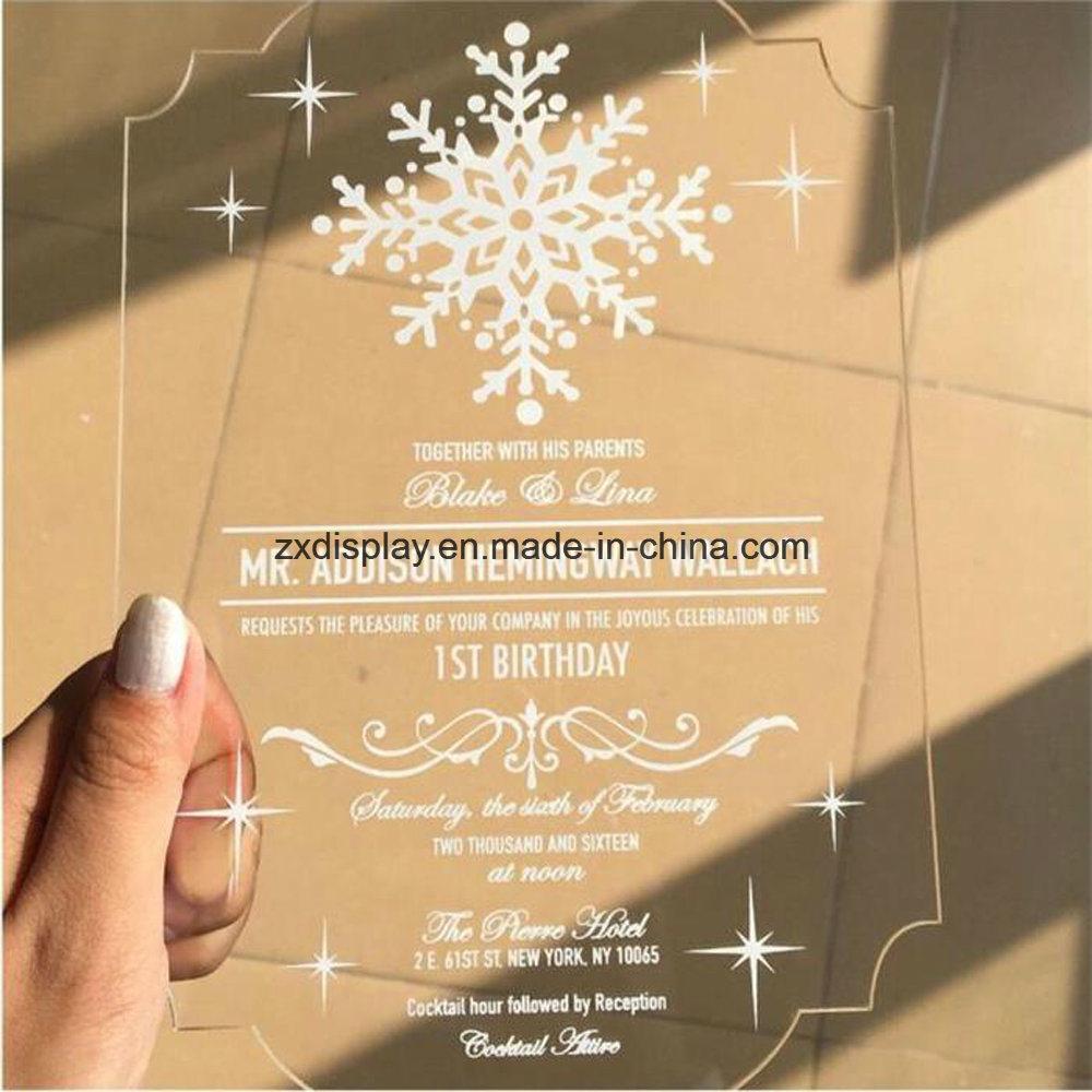 China Custom Clear Acrylic Wedding Invitation Card Plexiglass