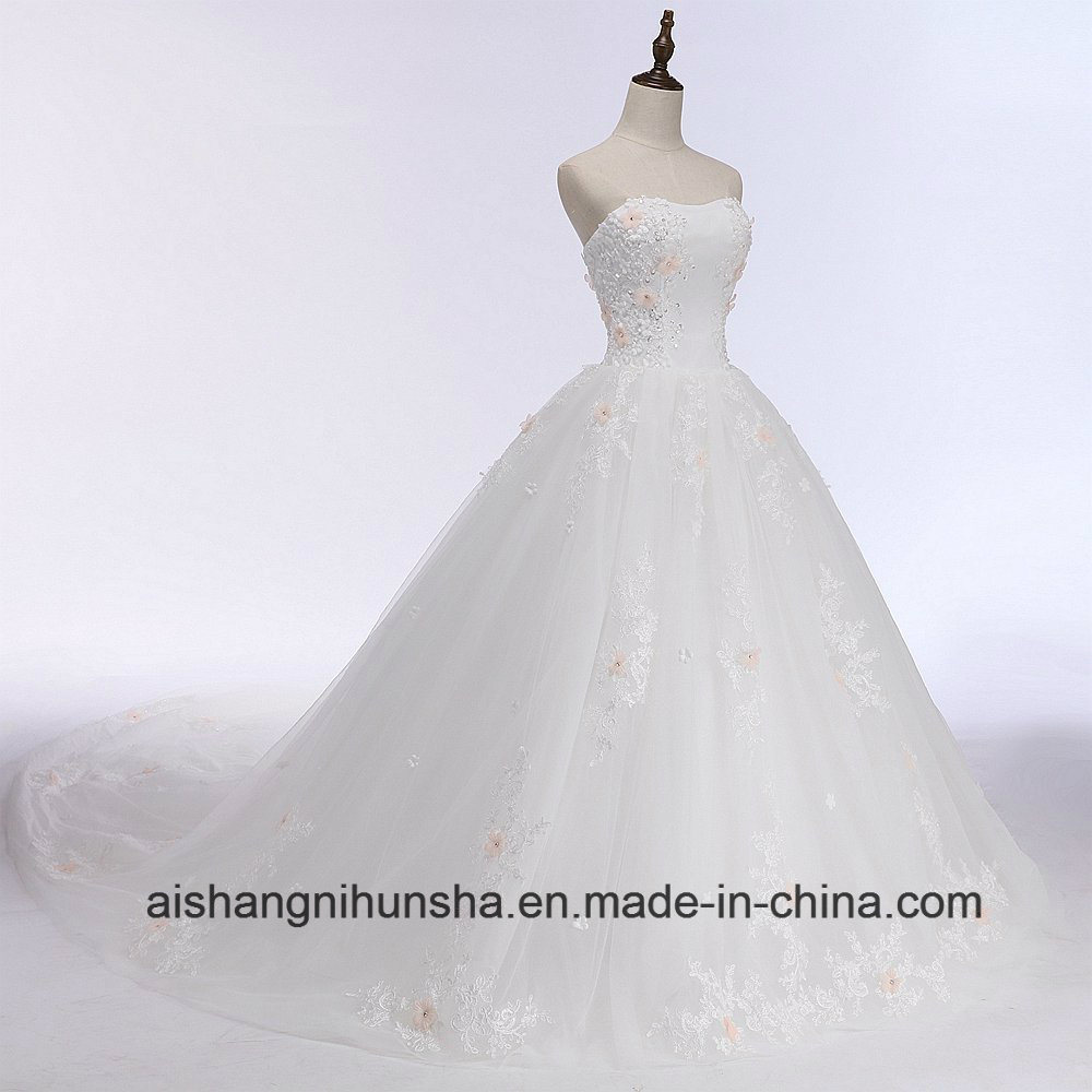 China Luxury Flower Lace Long Tail Wedding Dress Princess Strapless ...