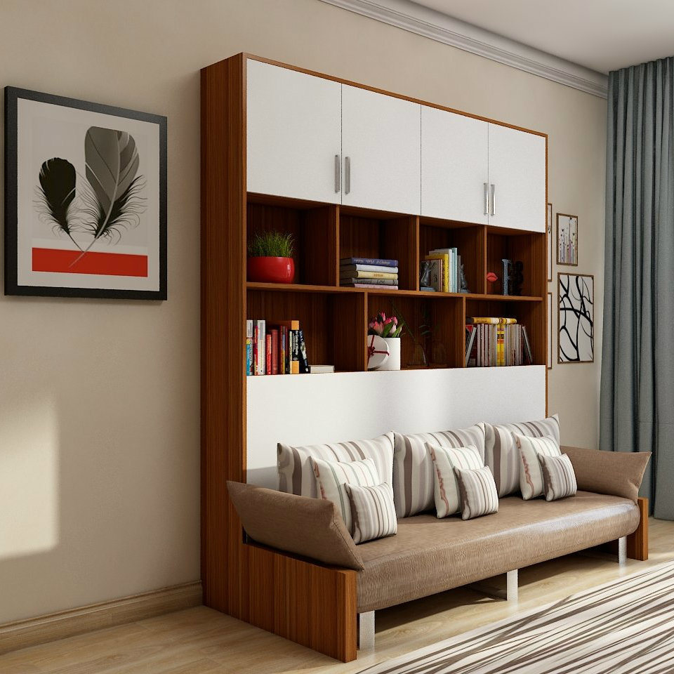Space Saving Furniture Wooden Modern Murphy Bed Folding Wall Bed With Sofa