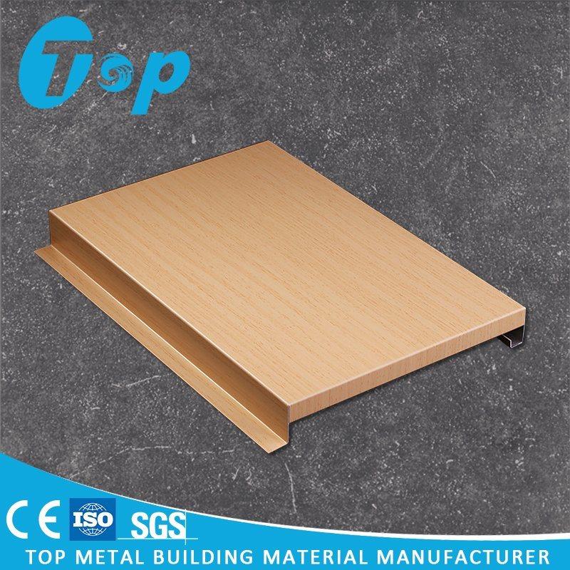 China New Design Printed Aluminum Wood Grain G Shaped Strip Ceiling Tile Ceilings