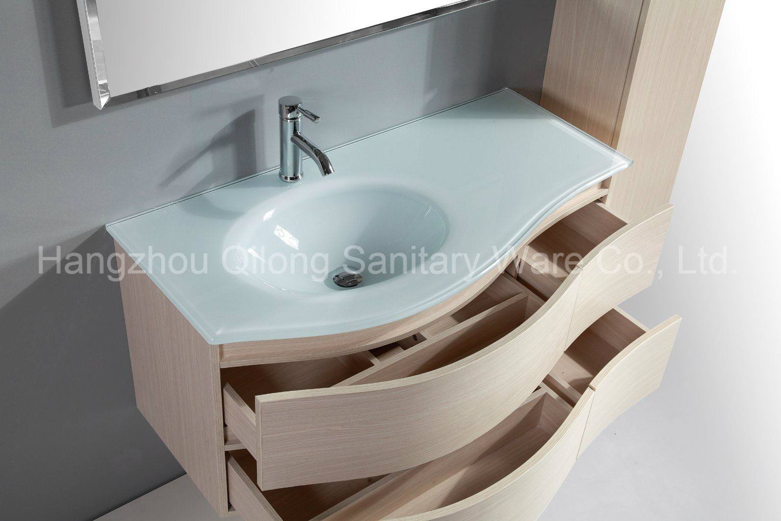 China Melamine MDF Bathroom Vanities with Side Cabinet Glass Sink ...