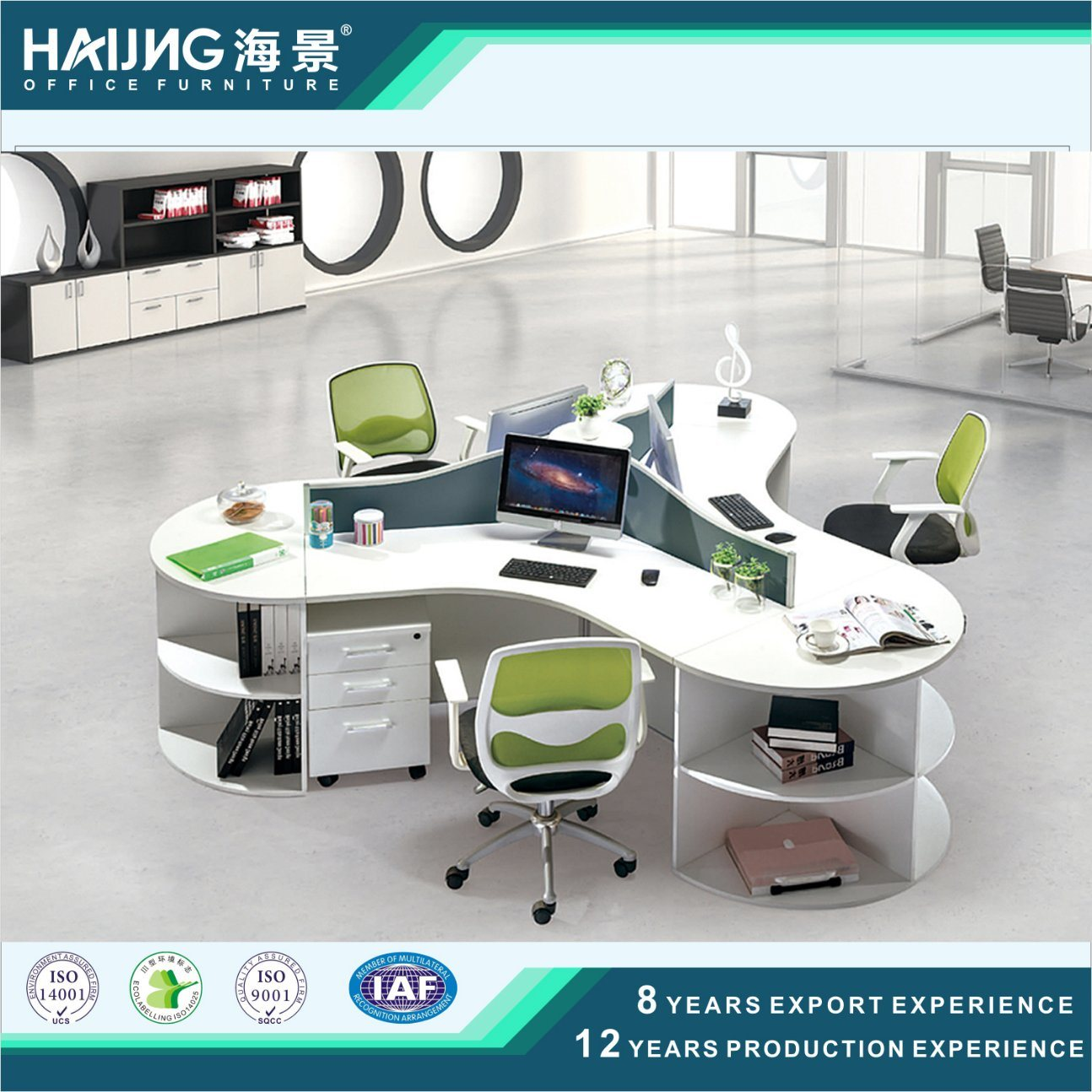 China Modern Round Office Workstation 3 Person Desk Divider