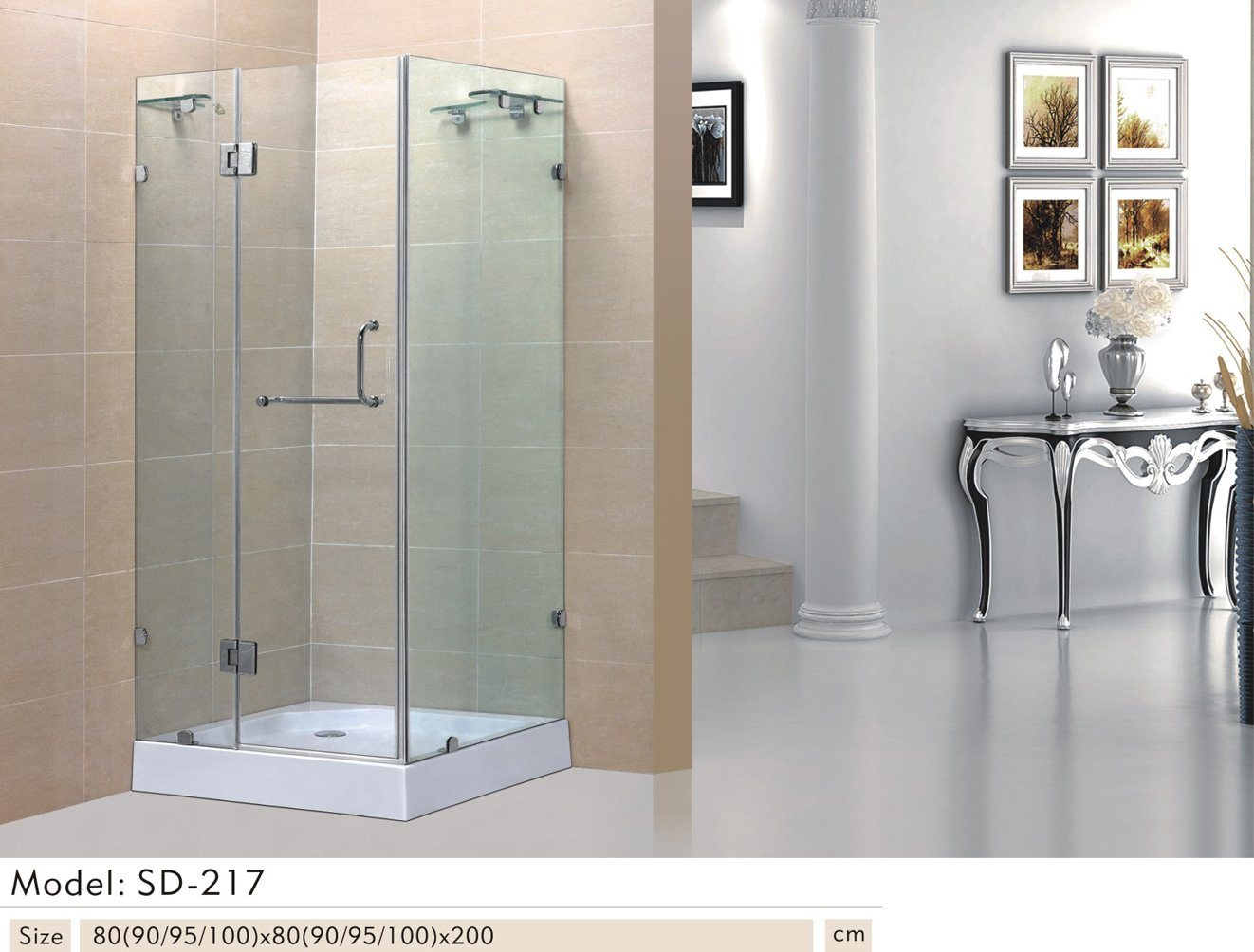 Hot Item Quadrat Tempered Transperant Glass Sliding Bathroom Shower Stall