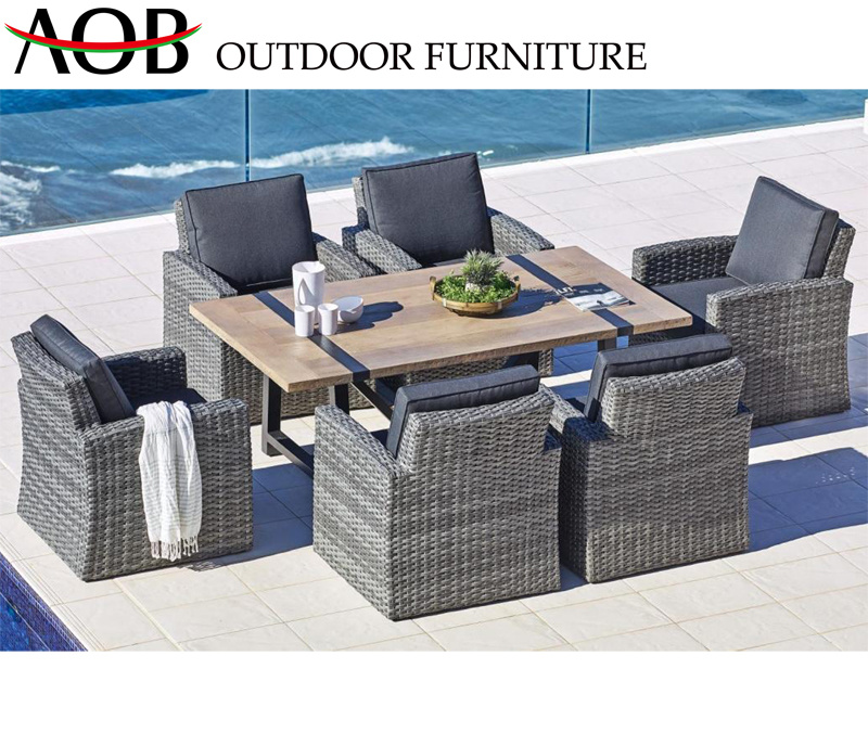 China European Home Outdoor Garden Furniture Rattan Wicker Dining Table And Chair Set China Outdoor Furniture Patio Furniture