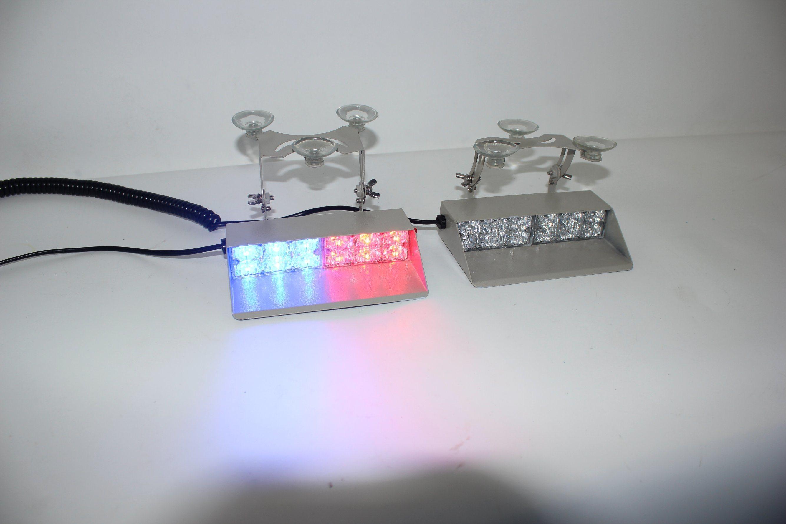 12 LED Emergency Warning Strobe Light Bar Flash Dash Deck Car Visor AMBER WHITE