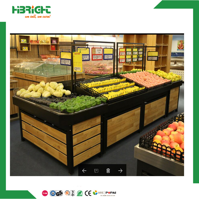 Hot Item Supermarket Wood Fruit And Vegetable Display Stand Rack