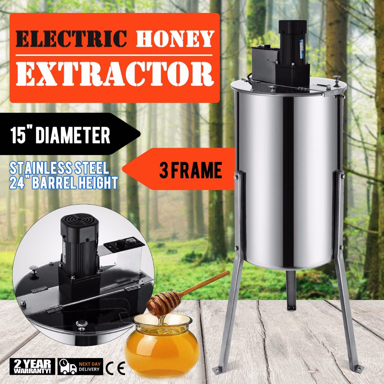 Kitchen Appliance Parts Vevor Brand New Large 3 Frame Stainless Steel Manual Honey Extractor Coffee Maker Parts