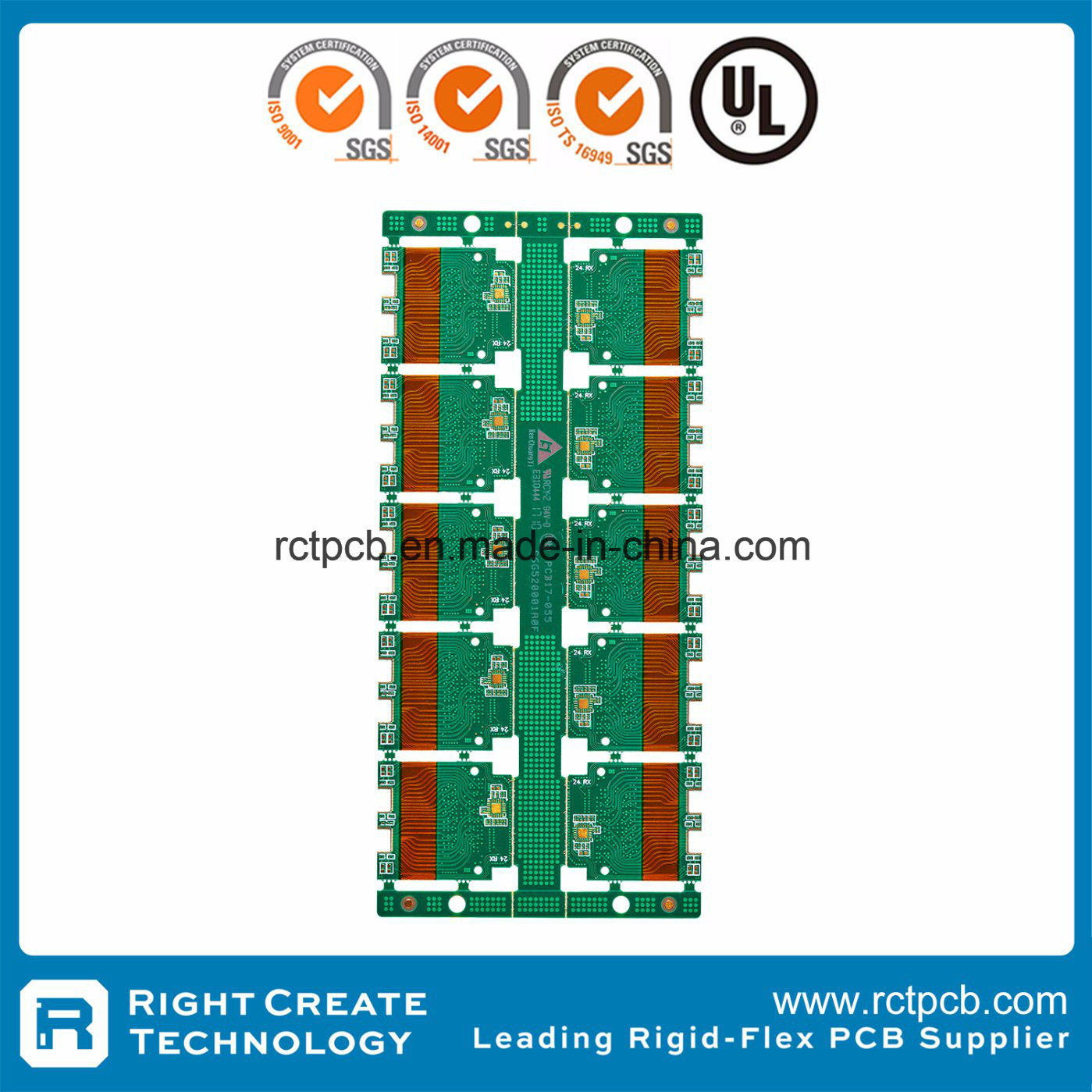 China 4 Layer Rigid Flex Pcb With Impedance Custom Printed Circuit Board Fr4 1oz Copper From
