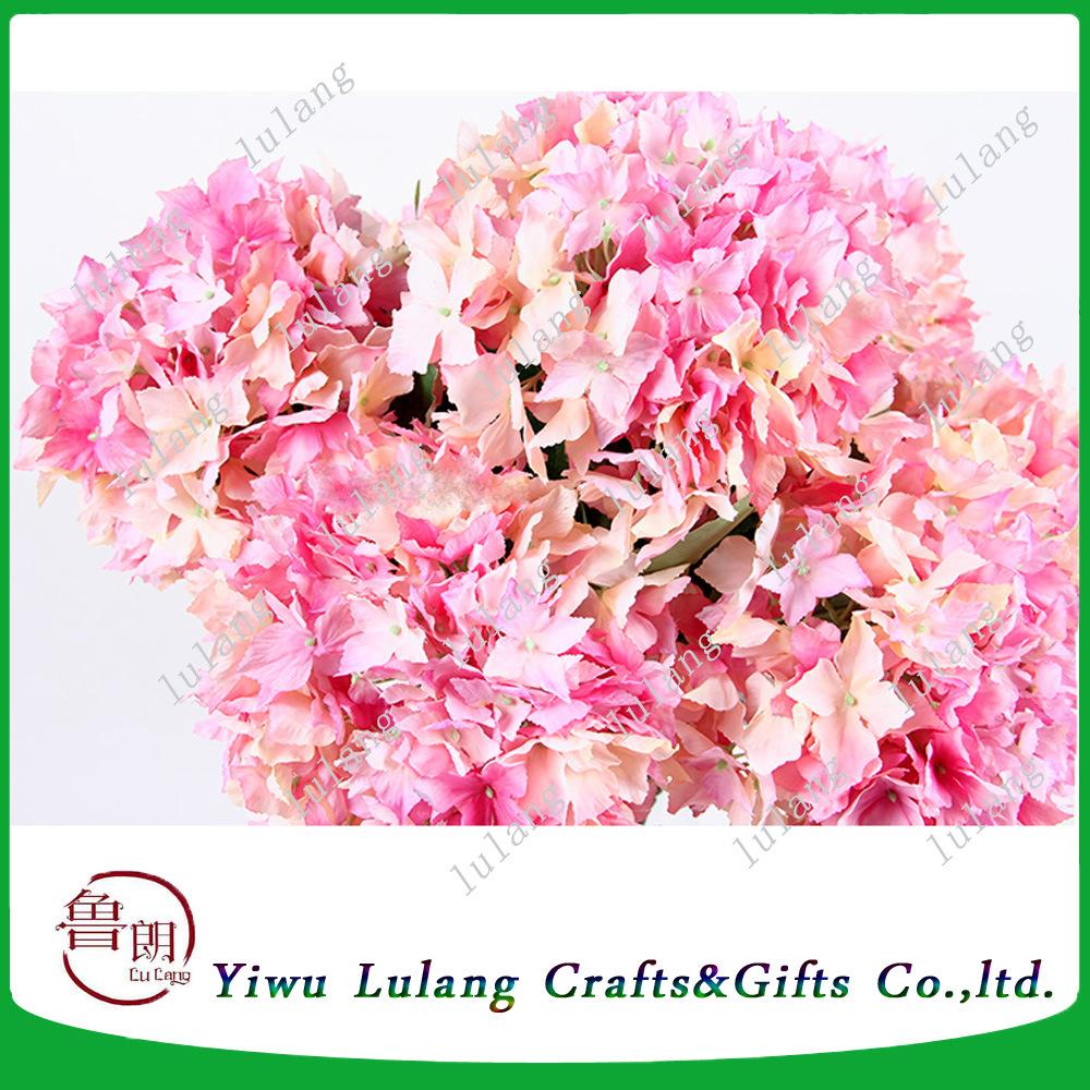 China Artificial Pink Silk Flowers Stem Hydrangeas For Interior