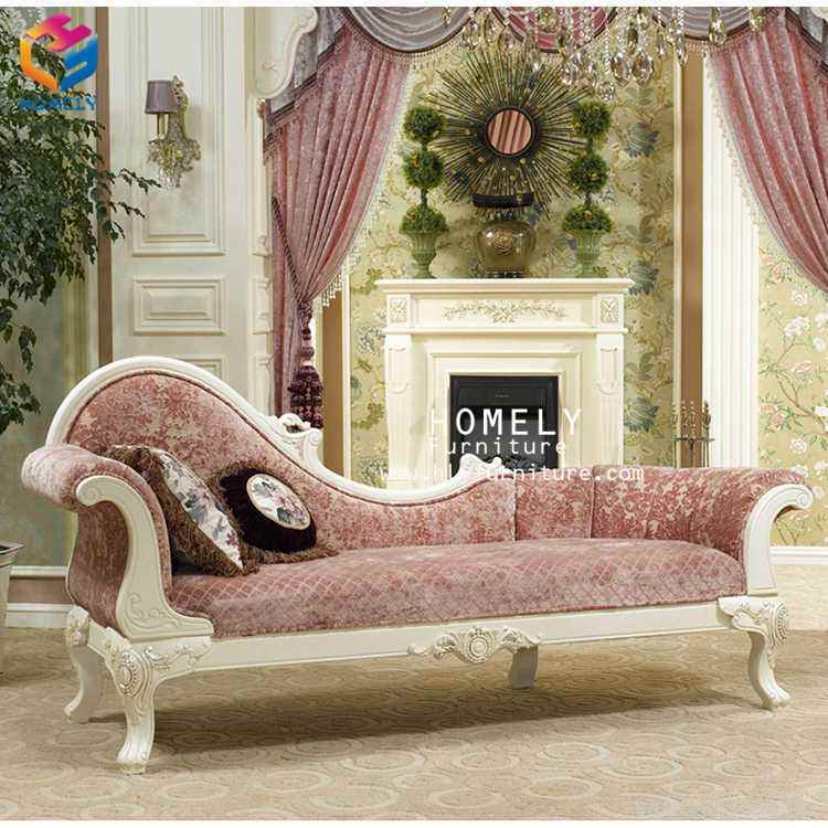 Hot Item Royal Classical Living Room Wooden Sofa Set With Lounge Chaise