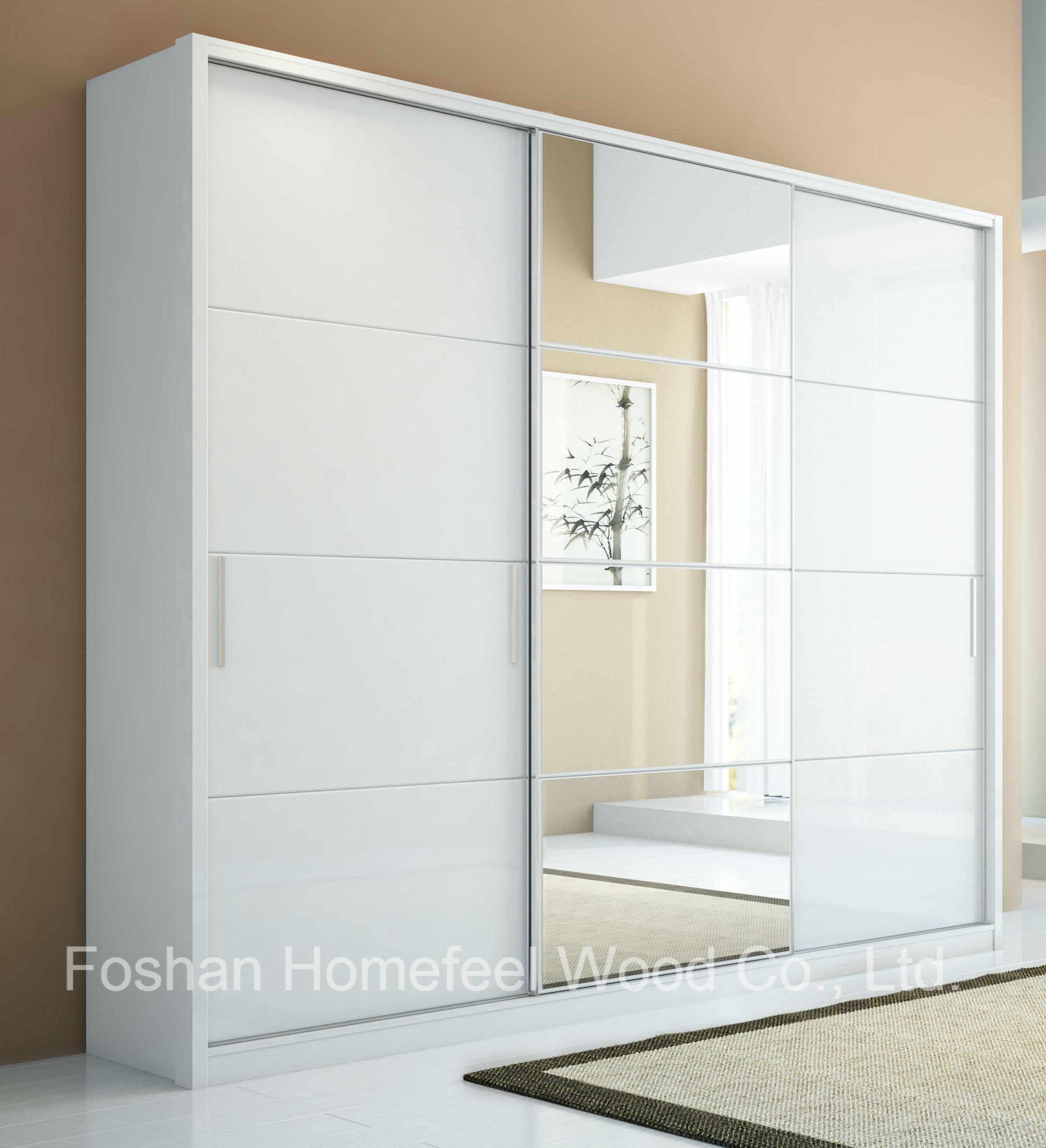 Mirror Wardrobe Armoire In Pure White Hf R6uu8