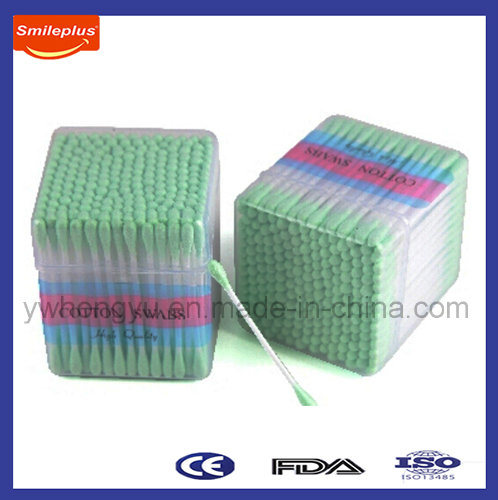 Multipurpose Two Sides Green Color Cotton Swab