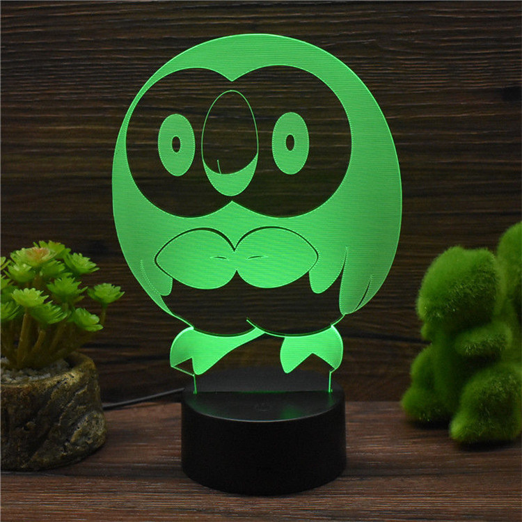 China Wholesale 3d Rowlet Pokemon Acrylic Illusion Decor Night