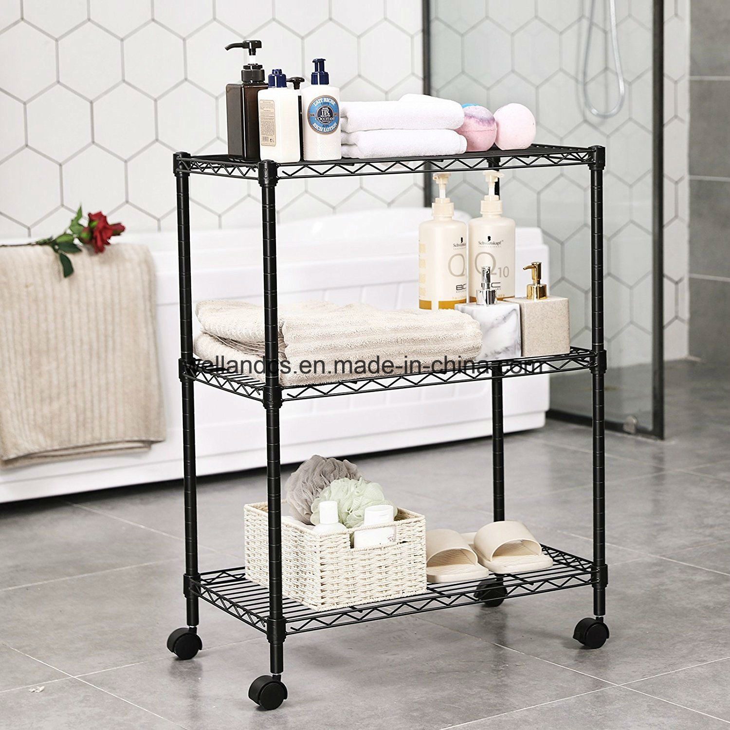 Hot Item Household Kitchen Bathroom 3 Tier Wire Shelving Unit Modern Rolling Cart Rack