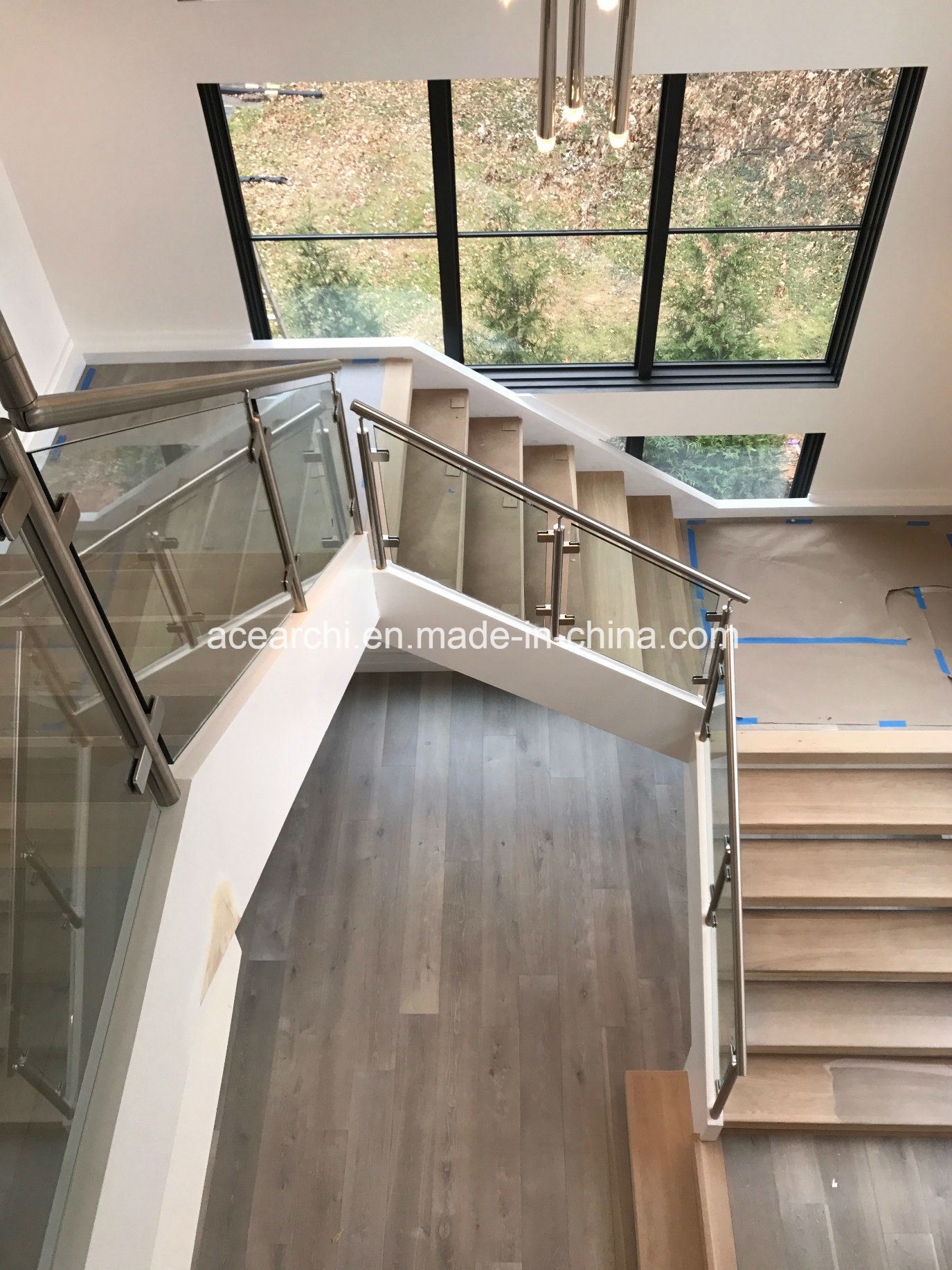 Interior Stainless Steel Tempered Clear Glass Stair Railing Handrail