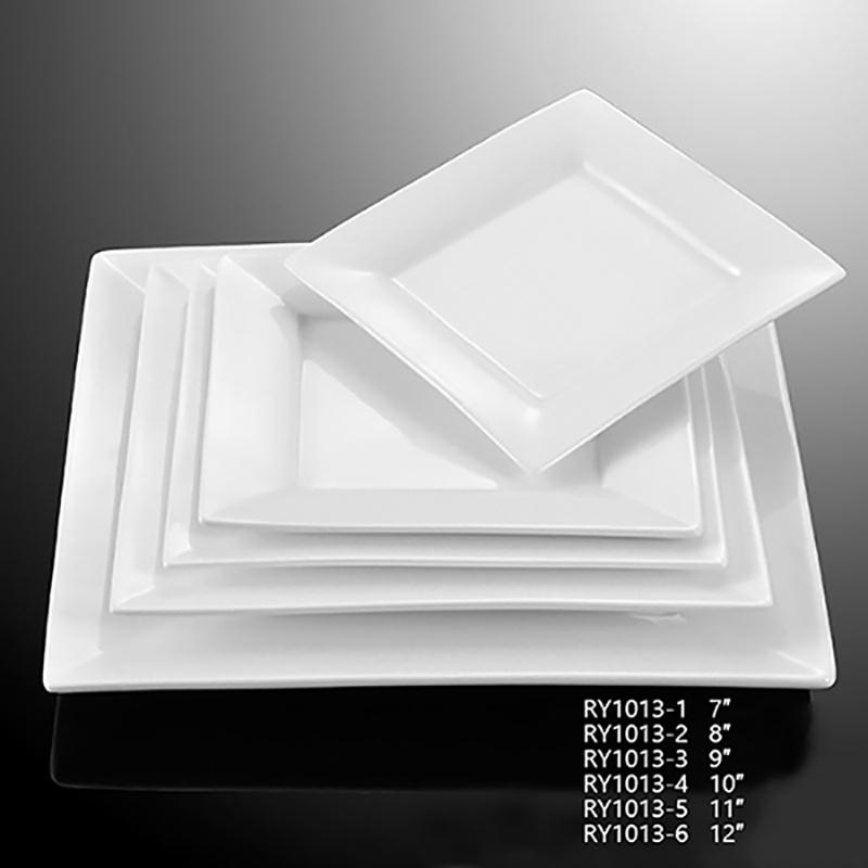 Square White Ceramic Dinner Plates