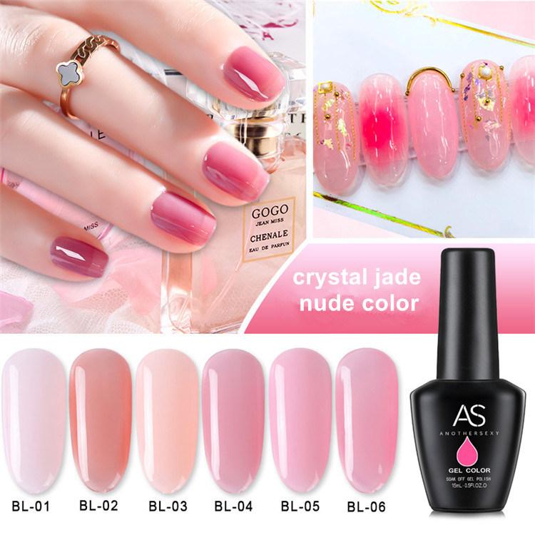 China Private Logo 2019 Popular Long Lasting Crystal Nude Jade Pink Color Nail Gel Polish Vanish Kit China Nail Beauty Products And Nail Varnish Set Price