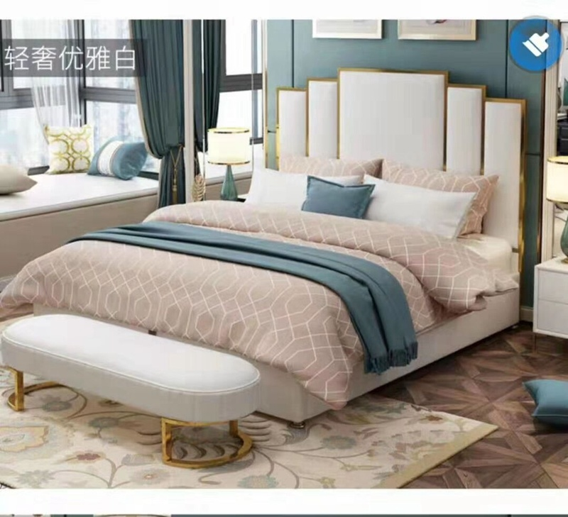 China Modern King Size Bed With Tufted Leather Headboard China Metal Frame Bedroom Furniture Stainless Steel Bed