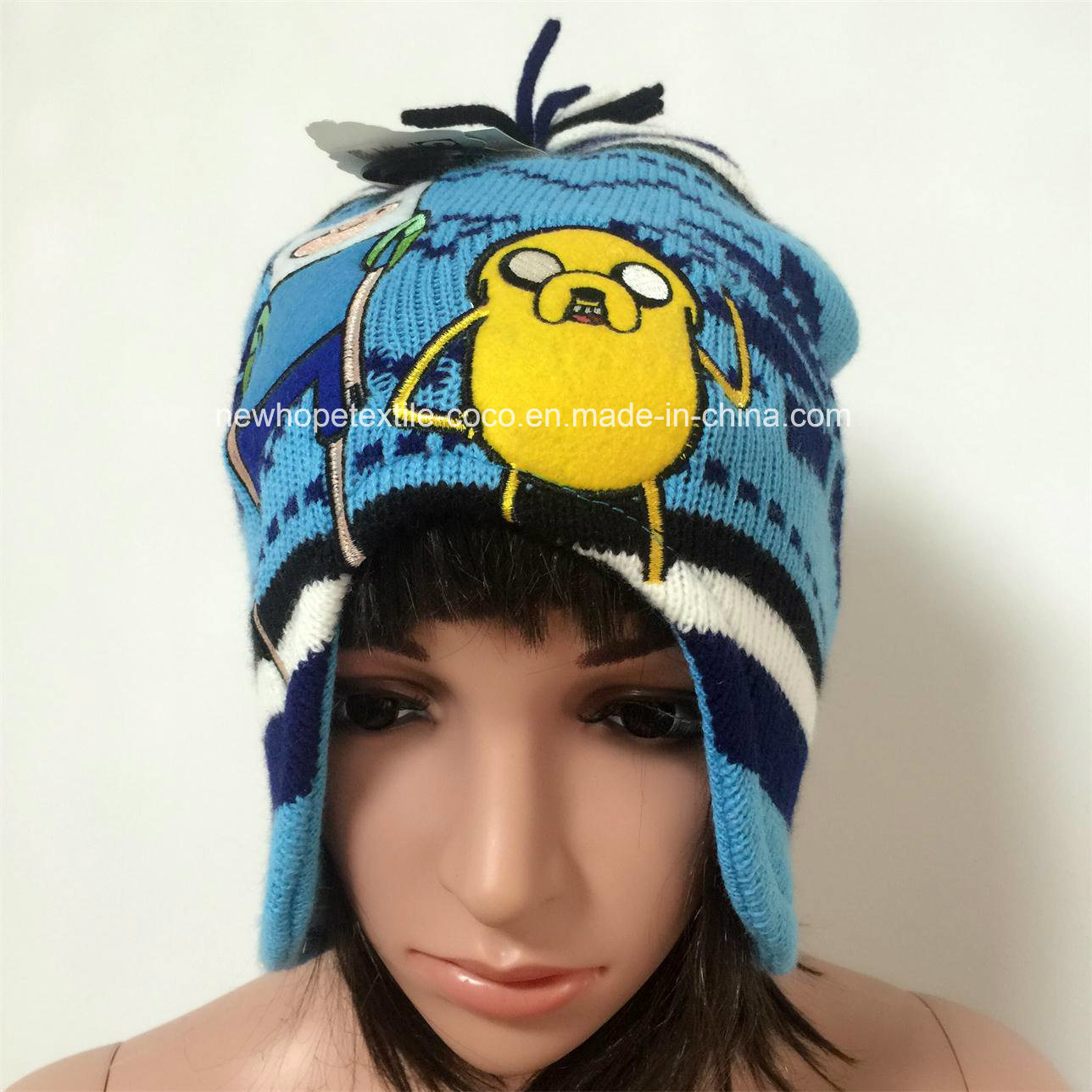 3bdb9cede26 China Fashion Beanie for Children with Ears Bowknot Embroidery Printing Strings  - China Beanie Hat