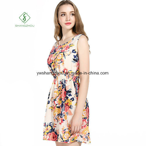 2017 Fashion Chiffon Printed Beach Dress Sexy Maxi Dress Factory pictures & photos