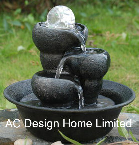 Antique Black Color Polyresin Indoor Home Decor Table Top Water Fountain W LED Light