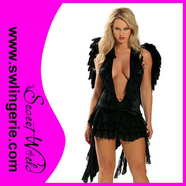 [Hot Item] Lady′s Black Sexy Angel Lingerie with Wings