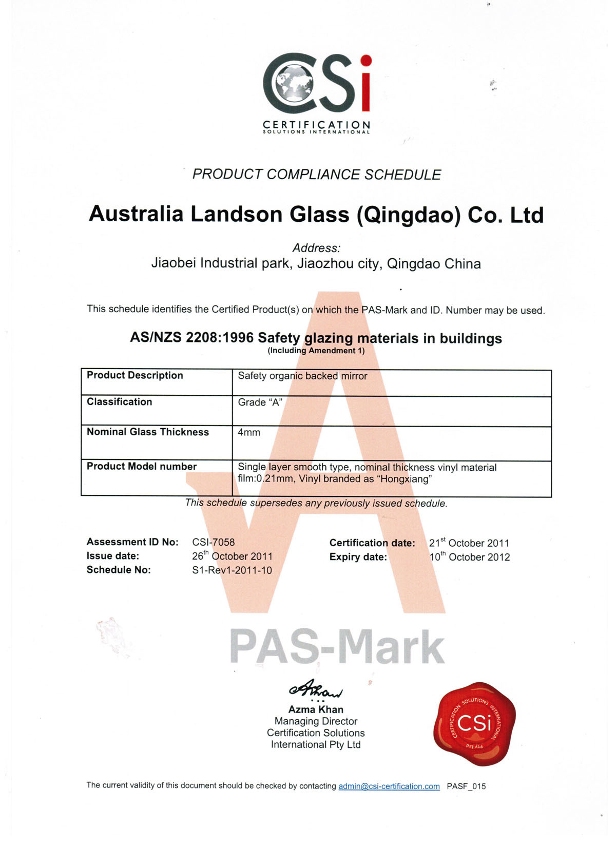 China Safety Mirror Csi Certification Asnzs 2208 1996 China