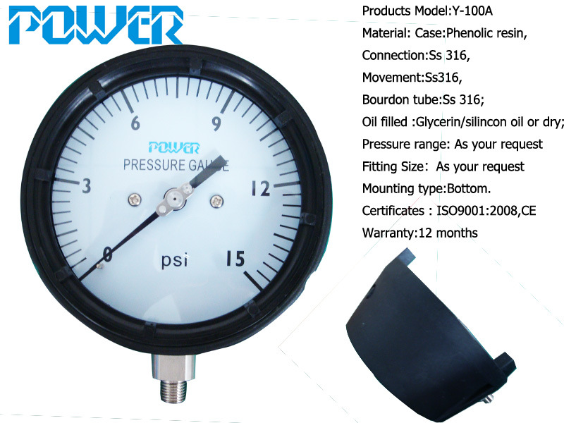 4.5inch 115mm Phenol Case Pressure Gauge with Thread 1/2NPT