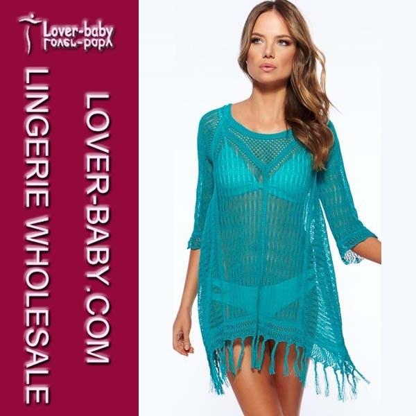 43860fc825 Blue Fringe Crochet Cover up Wholesale Woman′s Beach Dress (L38207-2)