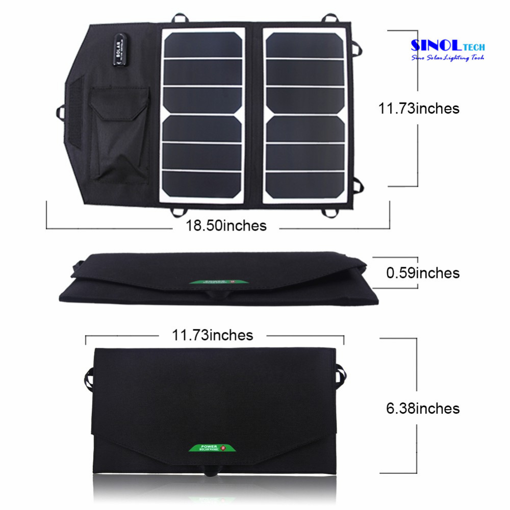 Portable Solar Charger 13W Sunpower Foldable Solar Panel USB Output Waterproof Solar Rechargeable Folding Bag for iPhone/iPad (FSC-13AT) pictures & photos