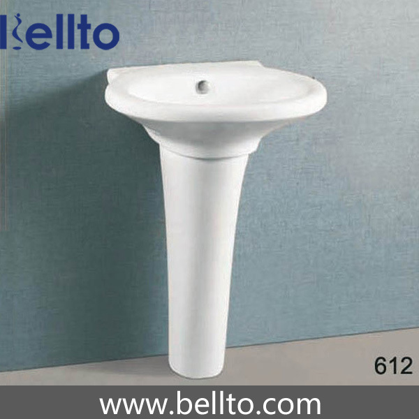 China Ceramic Unique Pedestal Sinks For Contemporary Bathroom 612 Wall Mounted