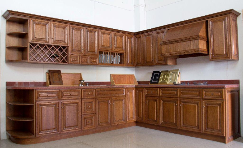 American Style Walnut Color Kitchen Cabinet