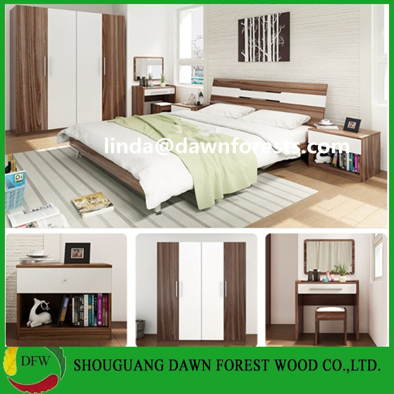 China Spray Paint Wooden Bedroom Sets Furniture (Wardrobe+Bedside ...