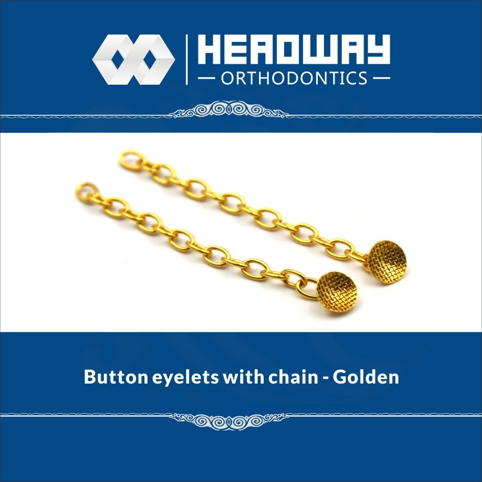 Orthodontic Good Quality Accessory Round Base Eyelet with Traction Chain Golden