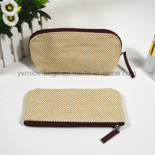 New Arrival Woven Pattern Polyester Zipper Bag for Cosmetic, Makeup