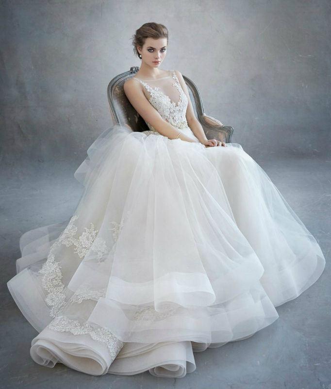 China Sheer Bridal Gown V-Neck Puffy Appliqued Wedding Dresses 2018 ...