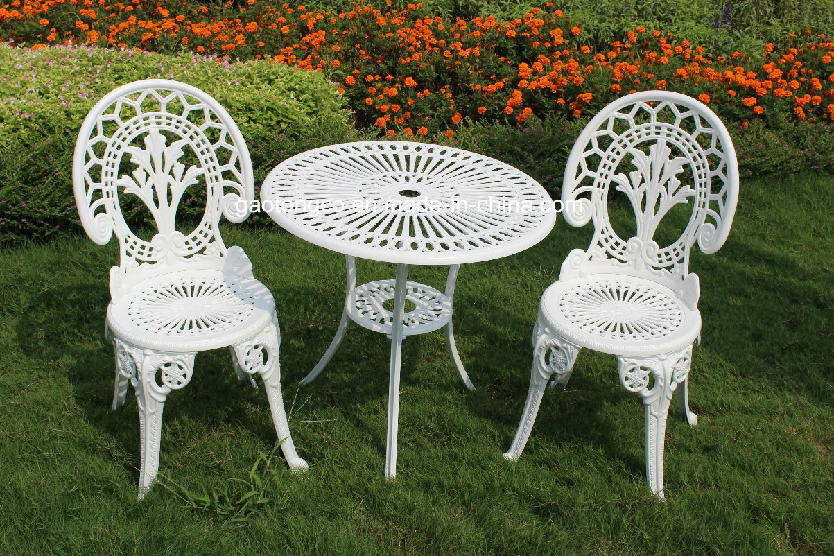 Luxury patio furniture aluminum powder coated garden table chair set