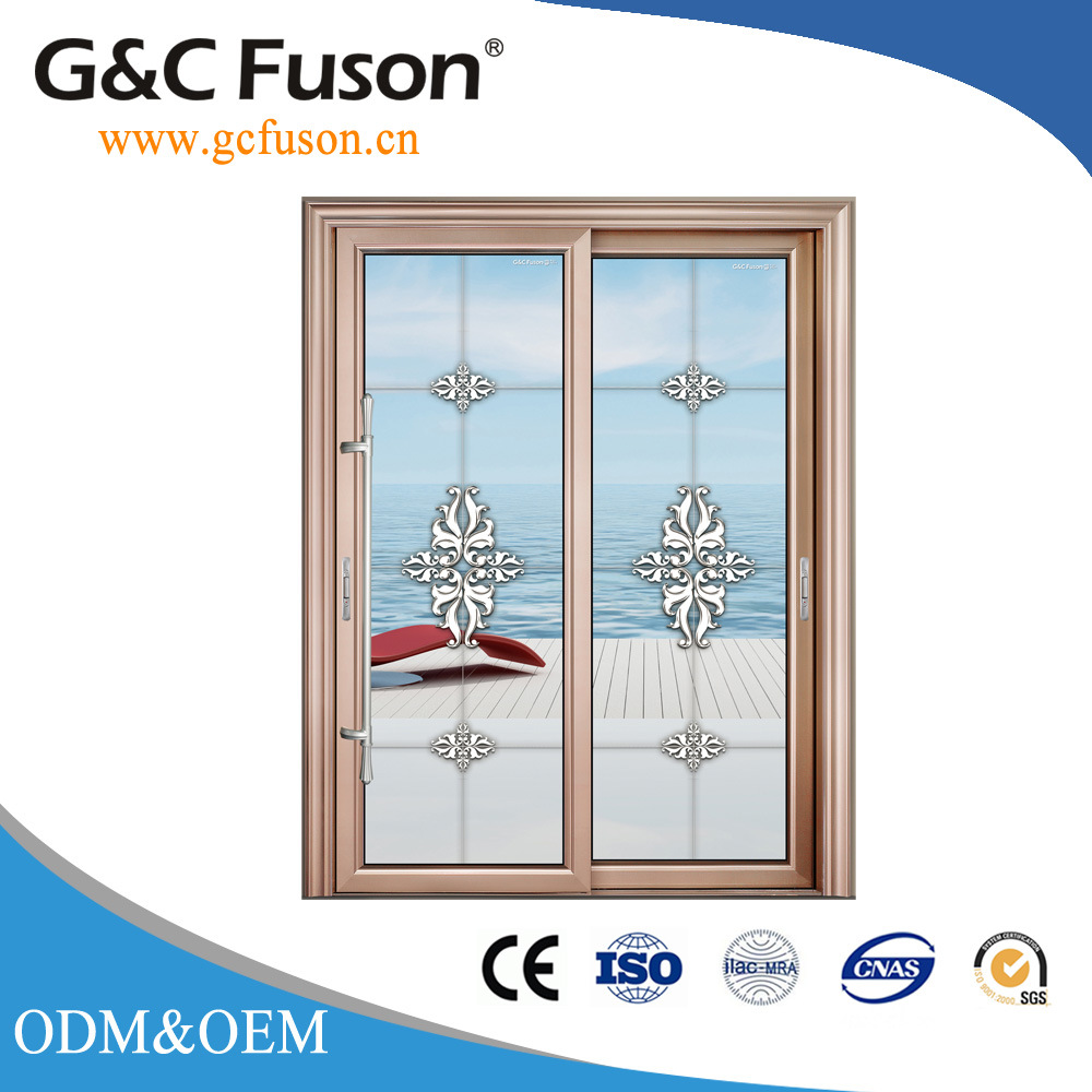China Double Glazed Aluminium Sliding Glass Door with Shutter Photos ...