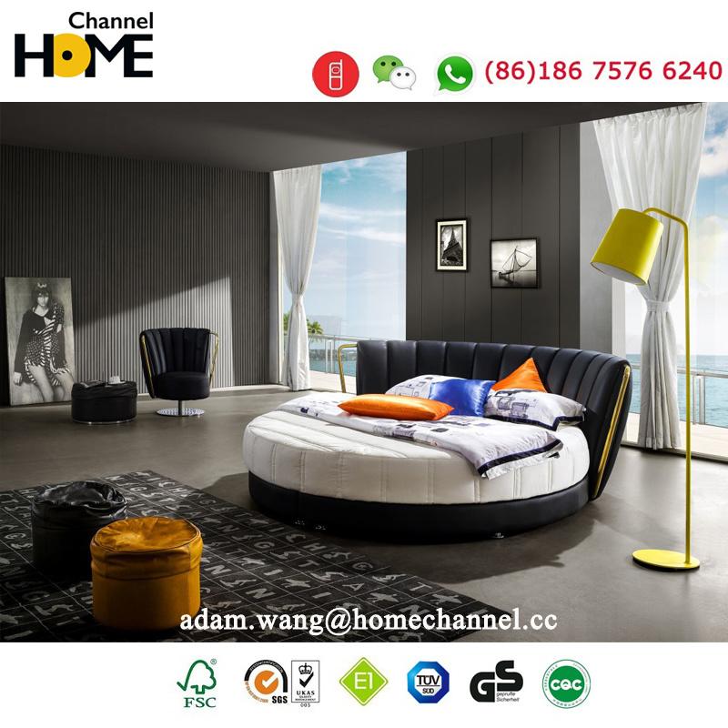 China Modern Elegant Design Genuine Leather Bed Hc325 For Bedroom China Bedroom Furniture Bed