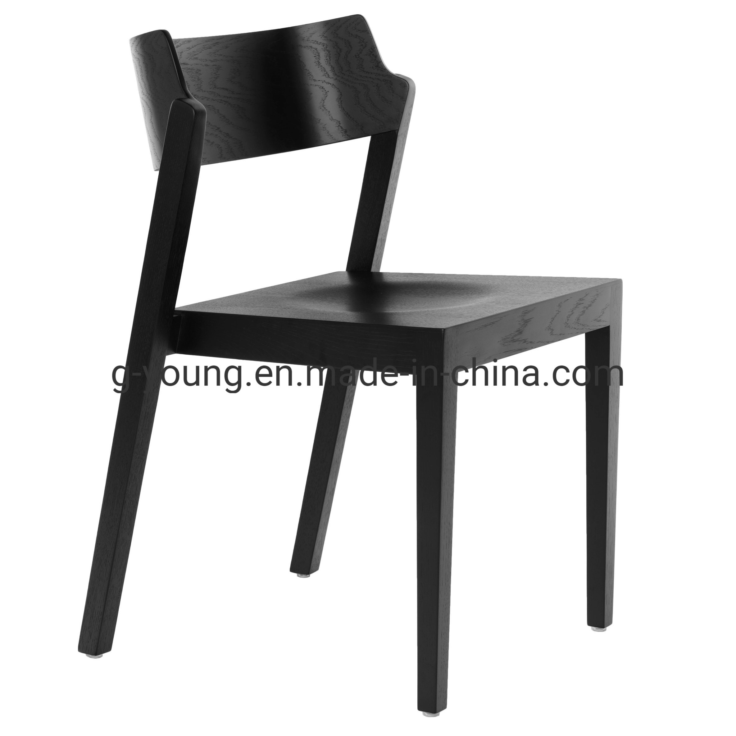 [Hot Item] Restaurant Black Wooden Chair Design Stackable Leisure Dining  Chair