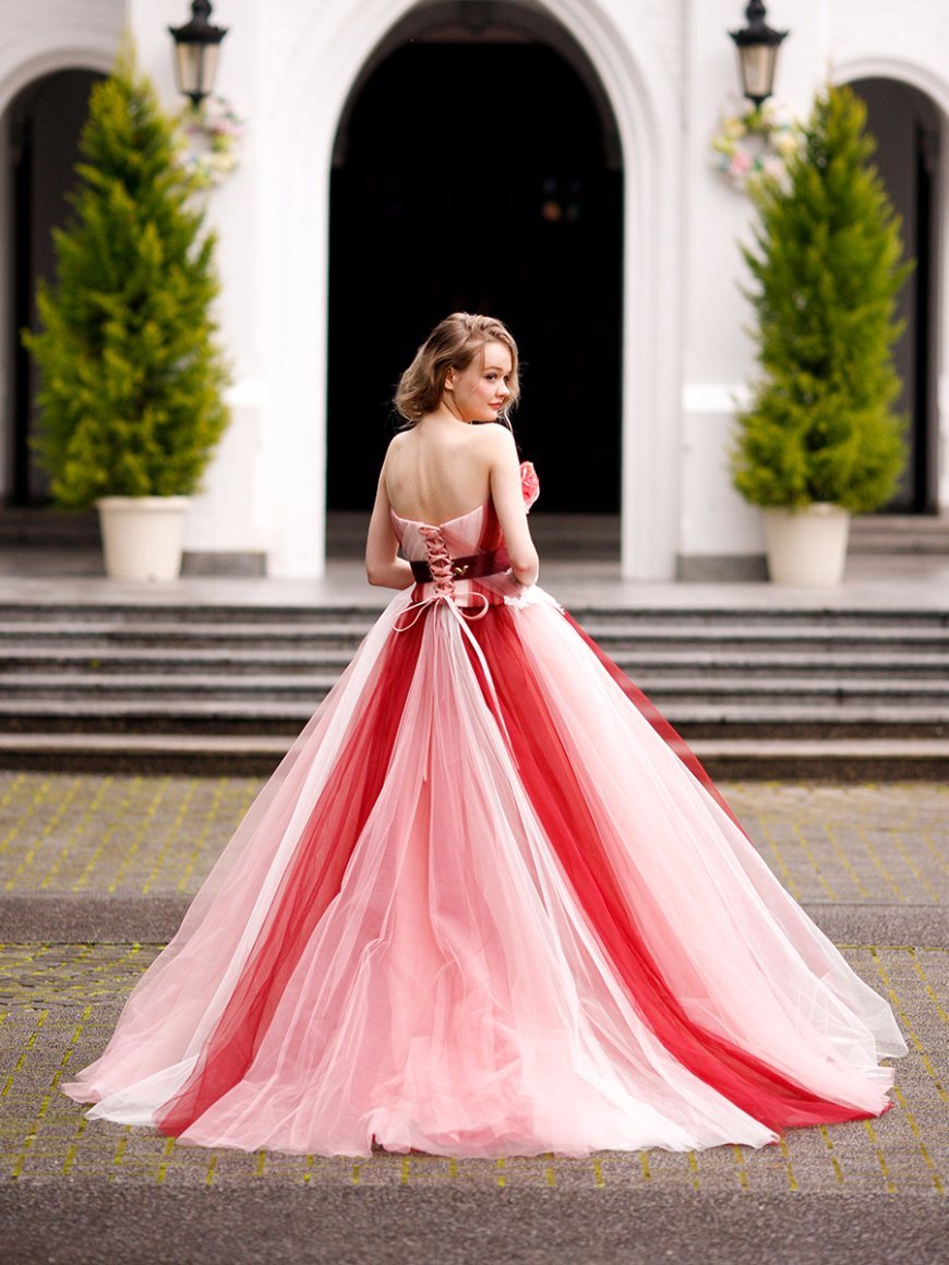 8c7be89760 Flower Pink and Red Tulle Prom Party Evening Ball Gown Quinceaner Dress  Wedding Dress