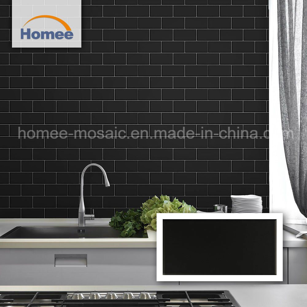 - China Matte Black Ceramic Mosaic Kitchen Backsplash Brick Subway