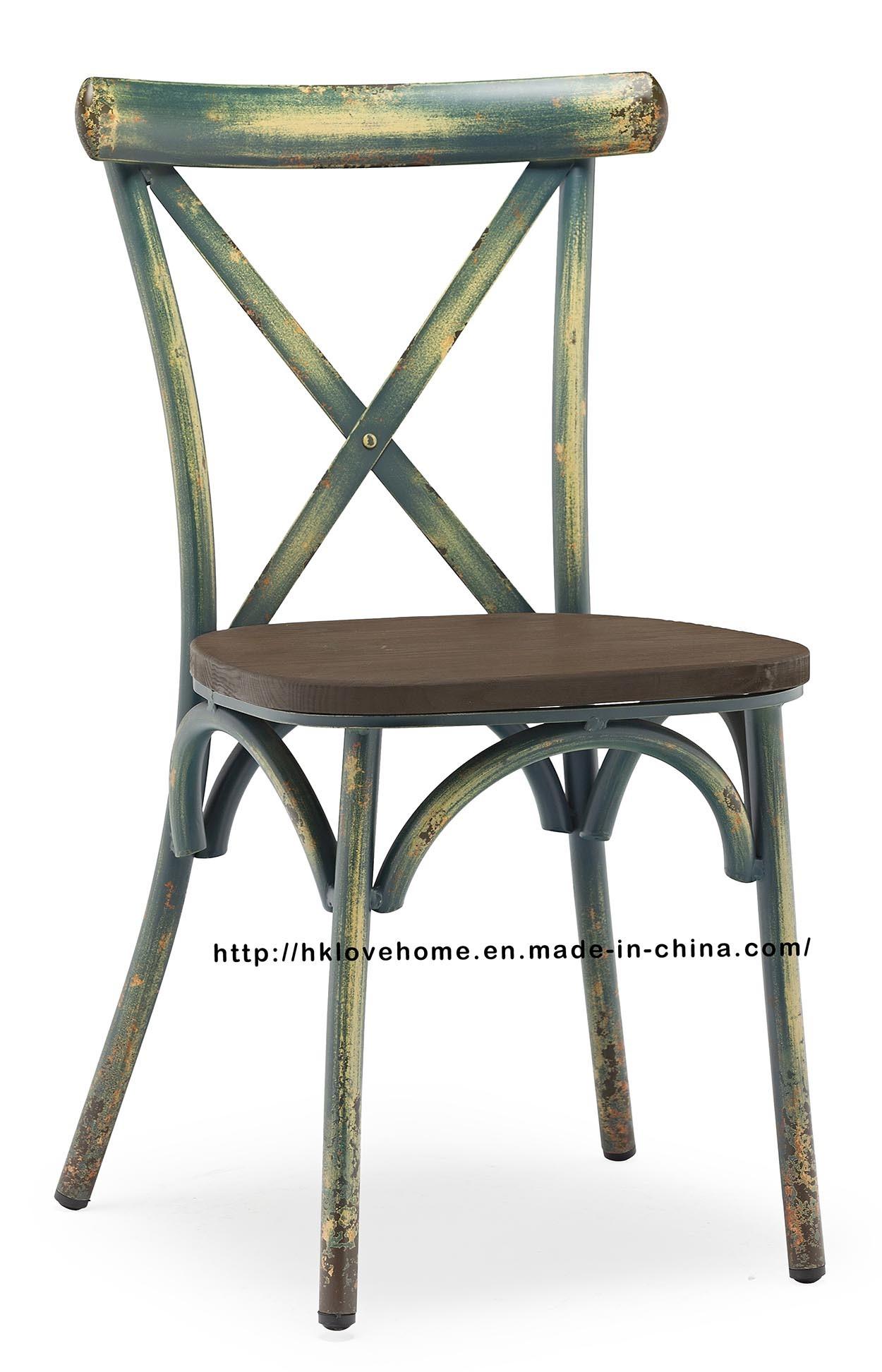 Hot Item Morden Dining Restaurant Coffee Stackable Metal Wooden Cross Back Chairs