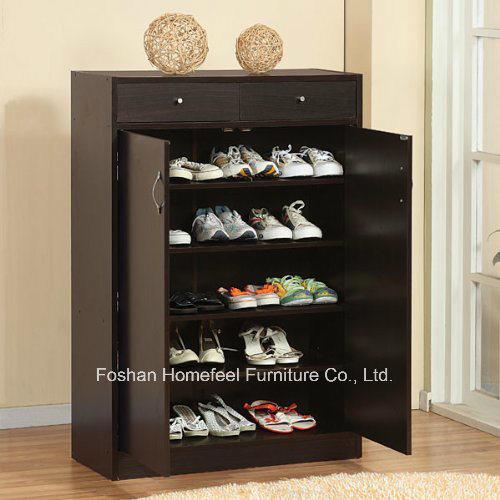 5 Shelf Black Wooden Shoe Storage Cabinet