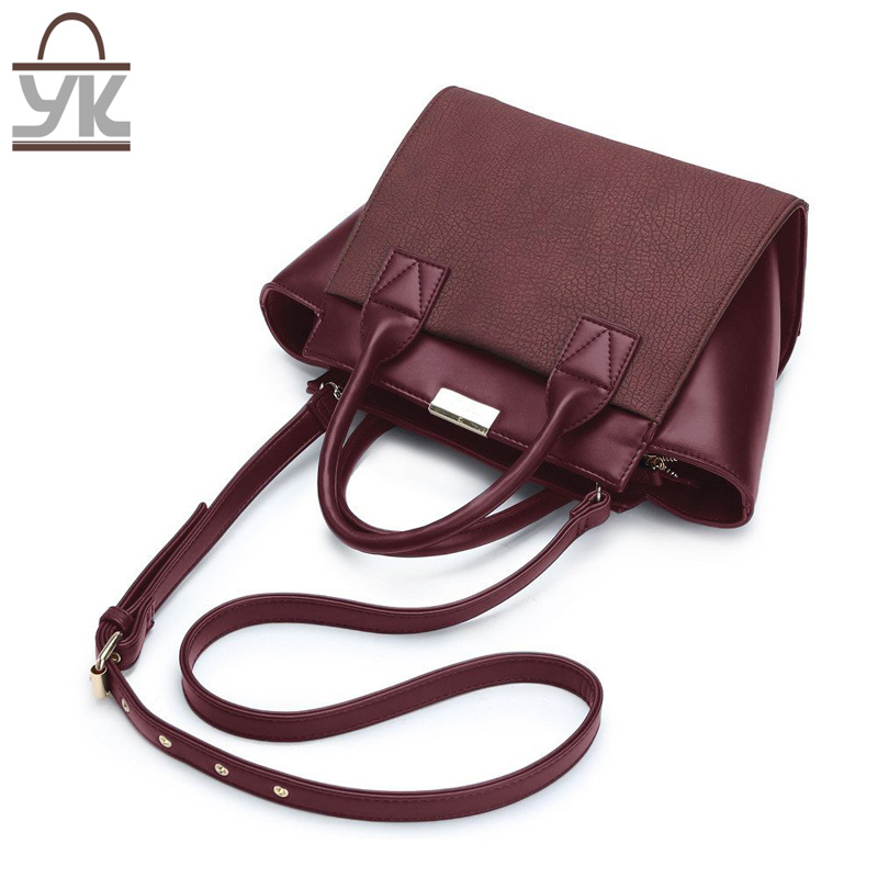 Contrast Color Good Quality PU Leather Women Bat Handbag