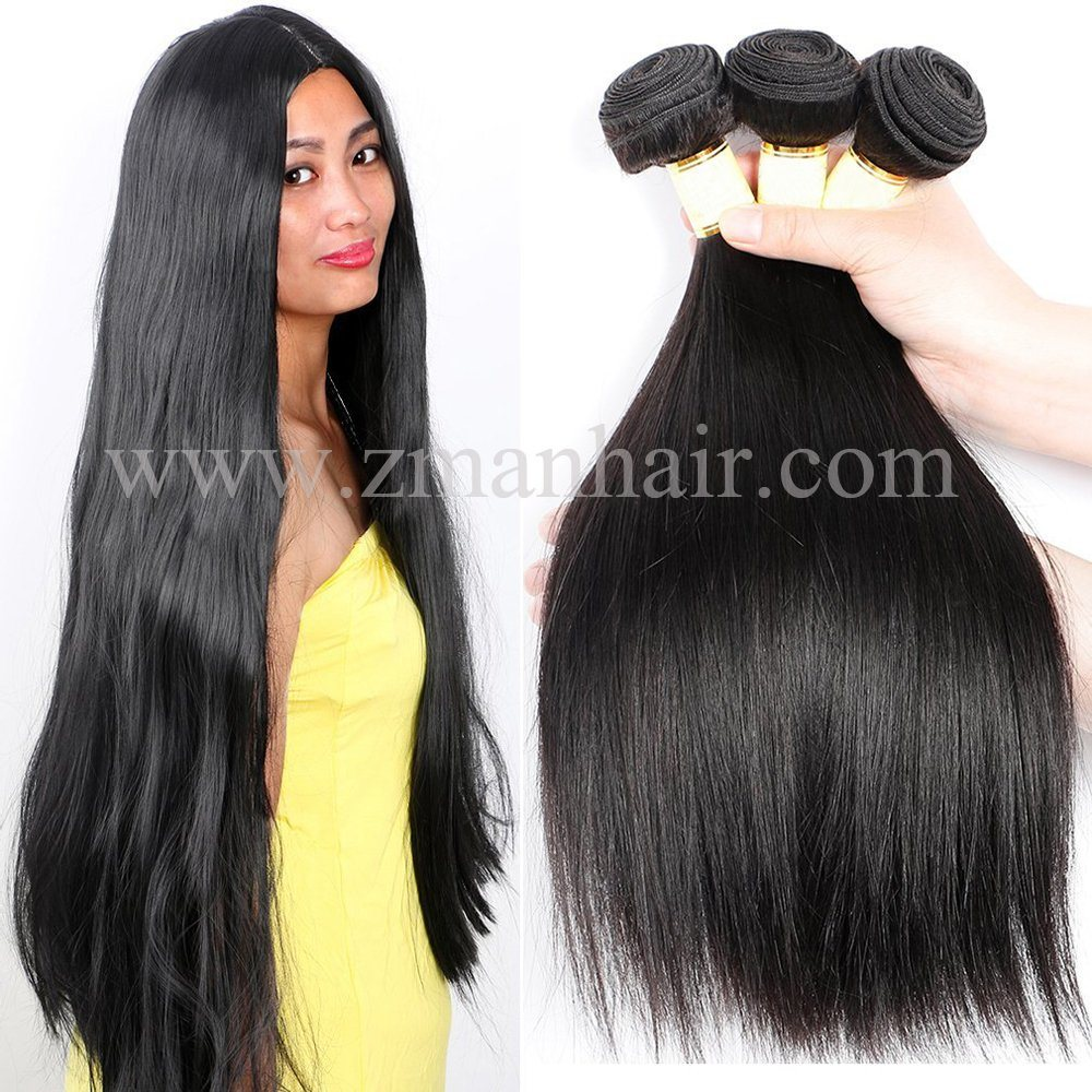 China Classic Black Silky Straight Brazilian Virgin Human Hair Weave
