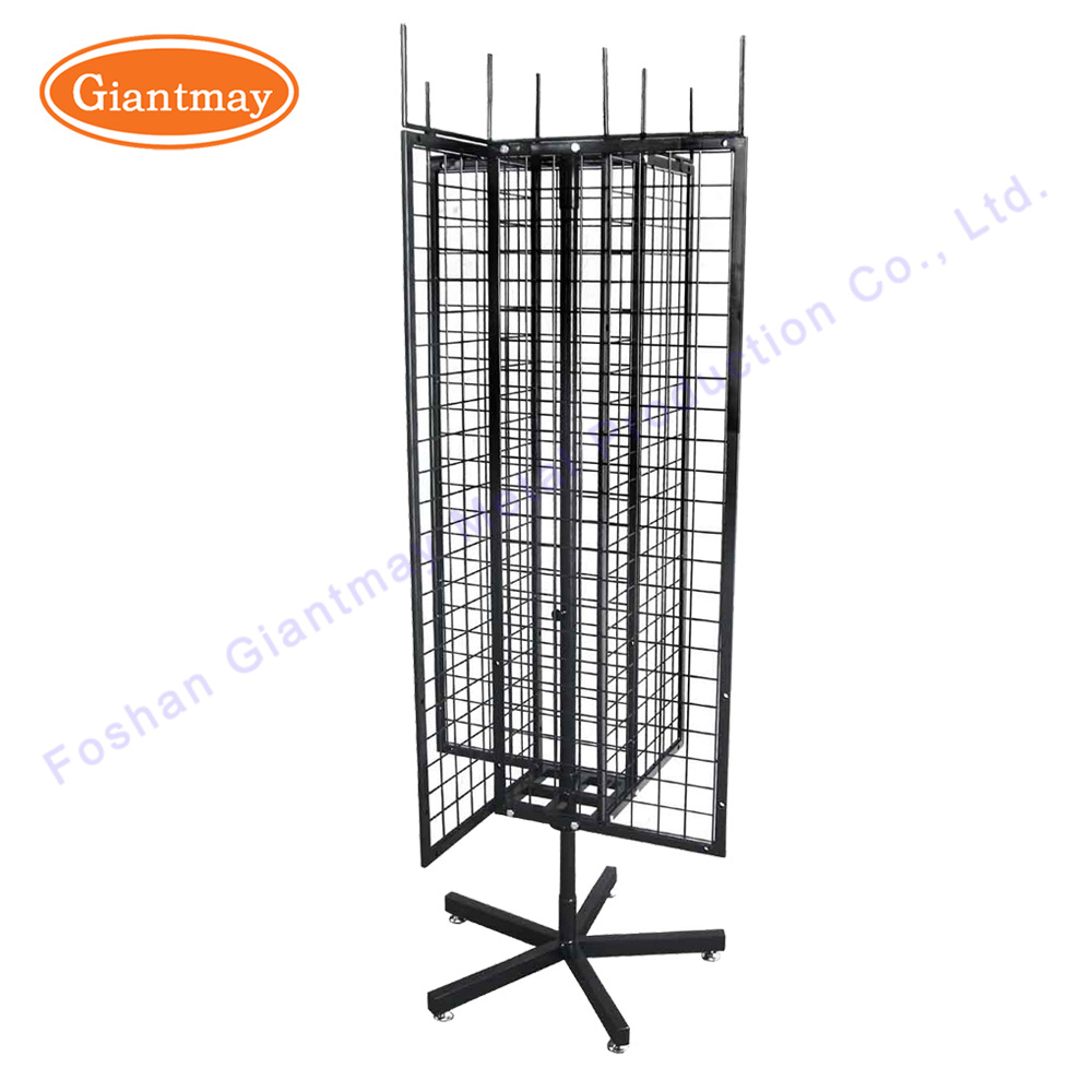 China 4 Sides Rotating Metal Wire Mesh Hanging Display Stands Trade ...