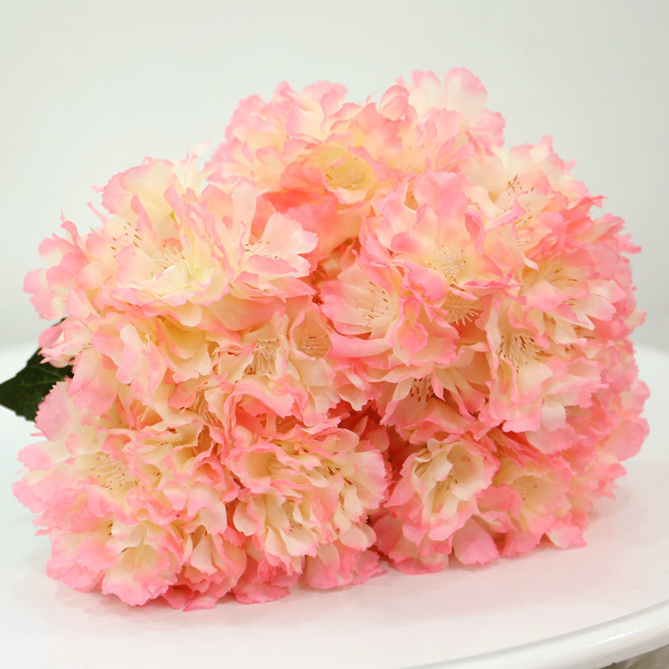 China Artificial Hydrangea Silk Cherry Flowers Leaf Bouquet Wedding Bridal Party Home Decor